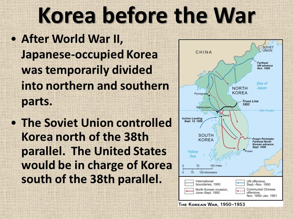 Korea before the War After World War II, Japanese-occupied Korea was temporarily divided into northern and southern parts.