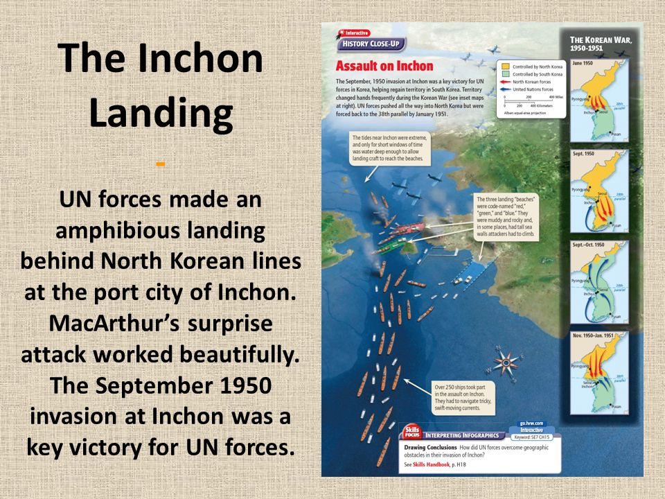 The Inchon Landing - UN forces made an amphibious landing behind North Korean lines at the port city of Inchon.