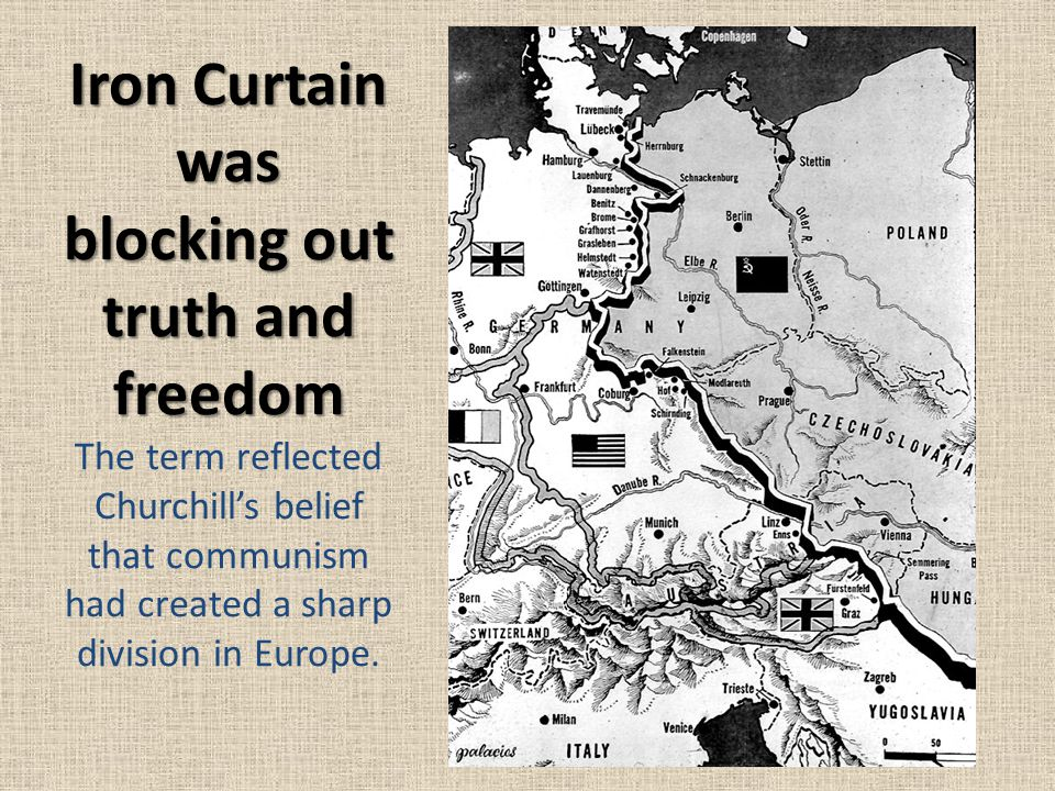 Iron Curtain was blocking out truth and freedom The term reflected Churchill's belief that communism had created a sharp division in Europe.