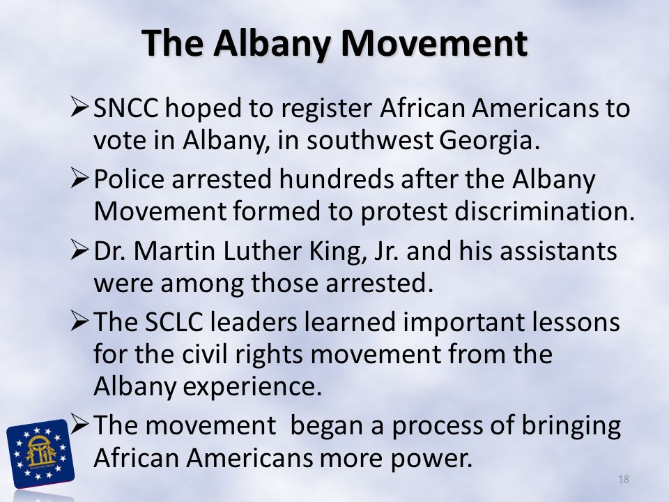 The Albany Movement SNCC hoped to register African Americans to vote in Albany, in southwest Georgia.