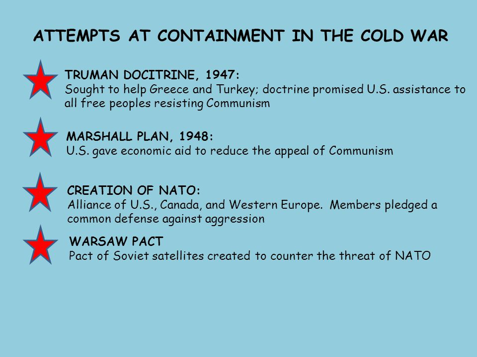 ATTEMPTS AT CONTAINMENT IN THE COLD WAR