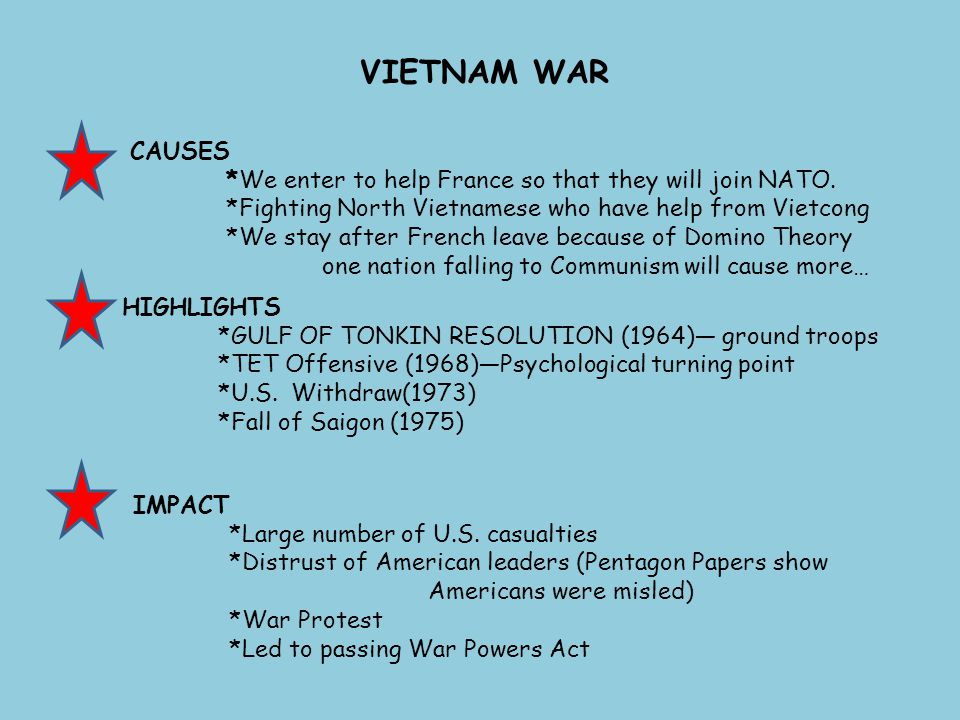 VIETNAM WAR CAUSES. *We enter to help France so that they will join NATO. *Fighting North Vietnamese who have help from Vietcong.