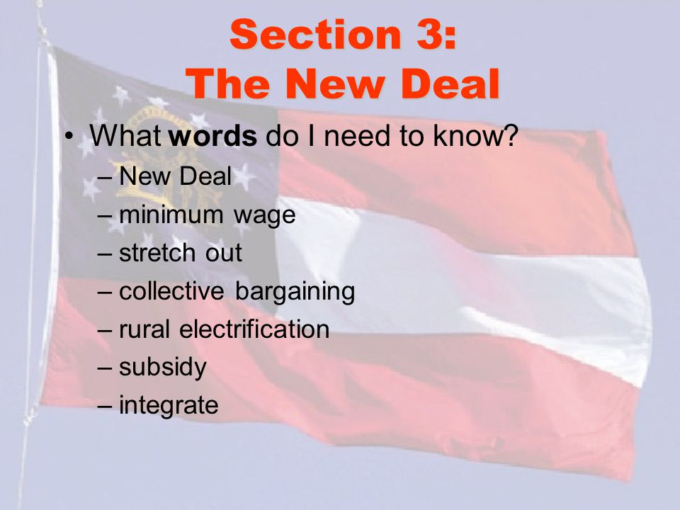 Section 3: The New Deal What words do I need to know New Deal