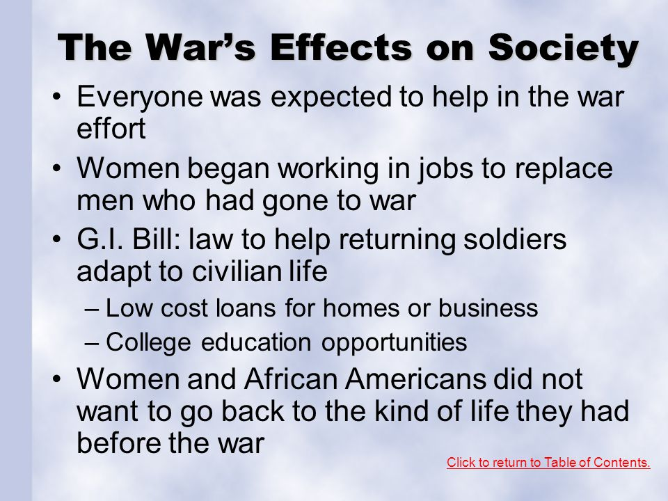 The War's Effects on Society