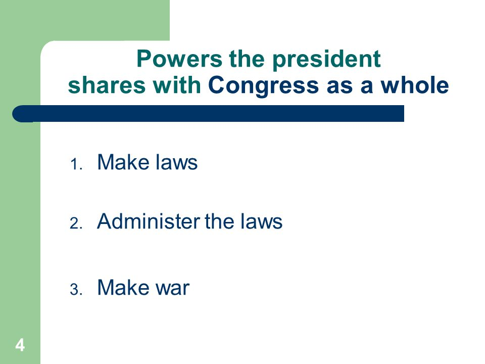 Powers the president shares with Congress as a whole