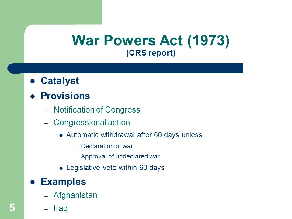 War Powers Act (1973) (CRS report)