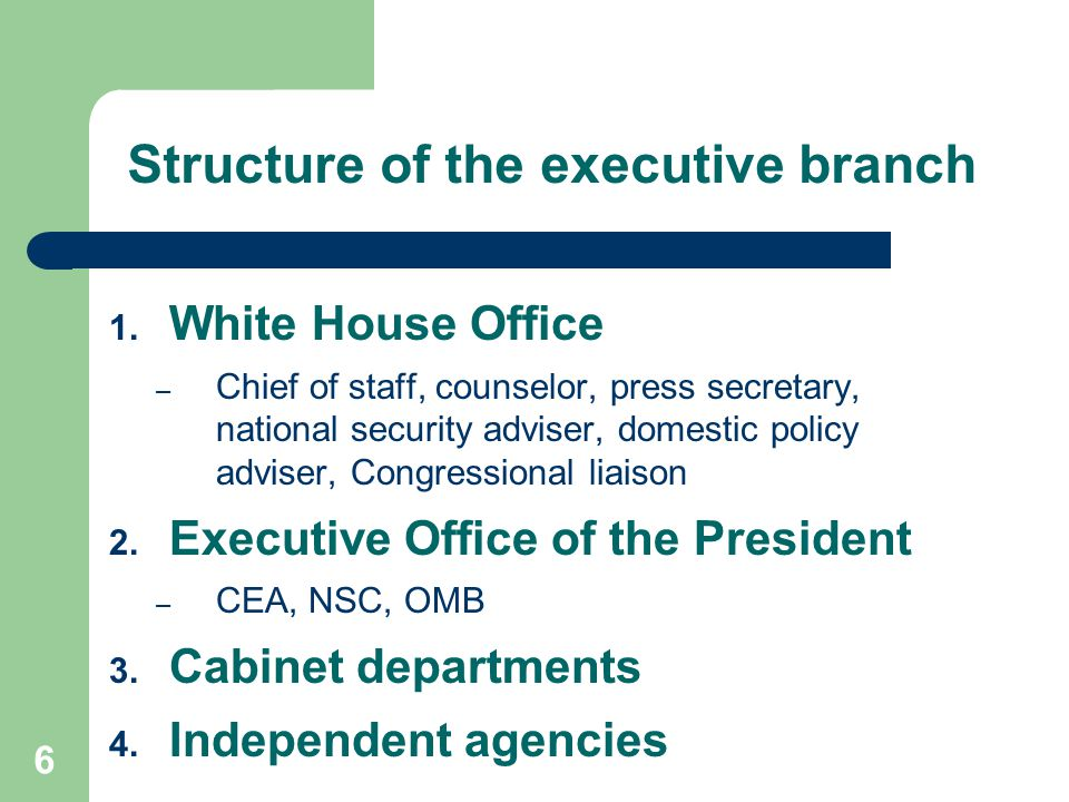Structure of the executive branch