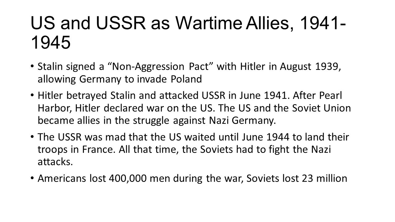 US and USSR as Wartime Allies, 1941-1945