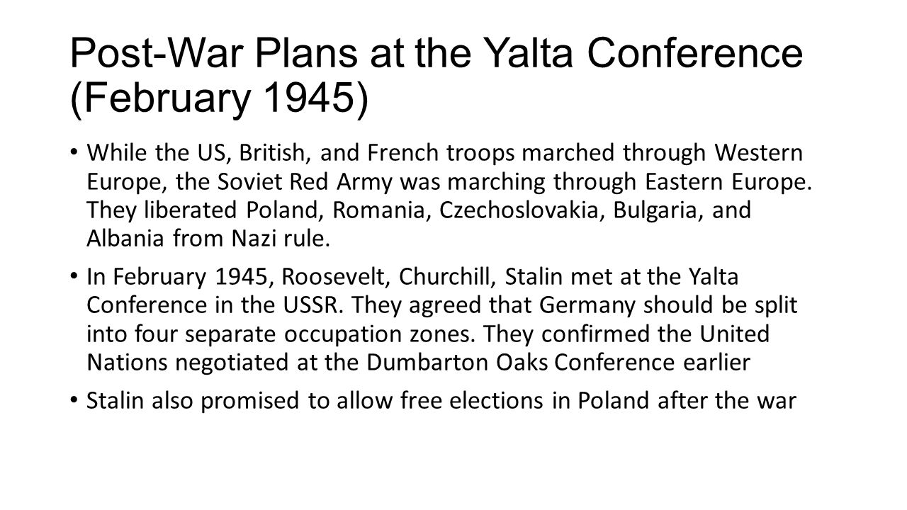 Post-War Plans at the Yalta Conference (February 1945)