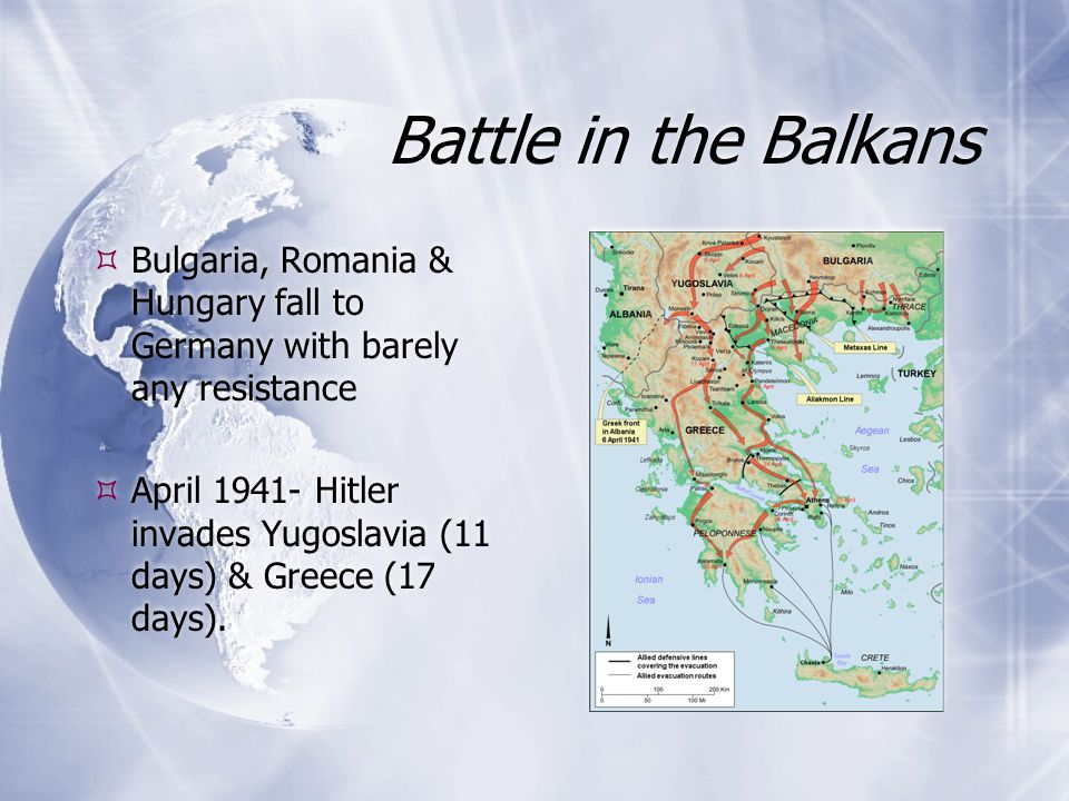 Battle in the Balkans Bulgaria, Romania & Hungary fall to Germany with barely any resistance.