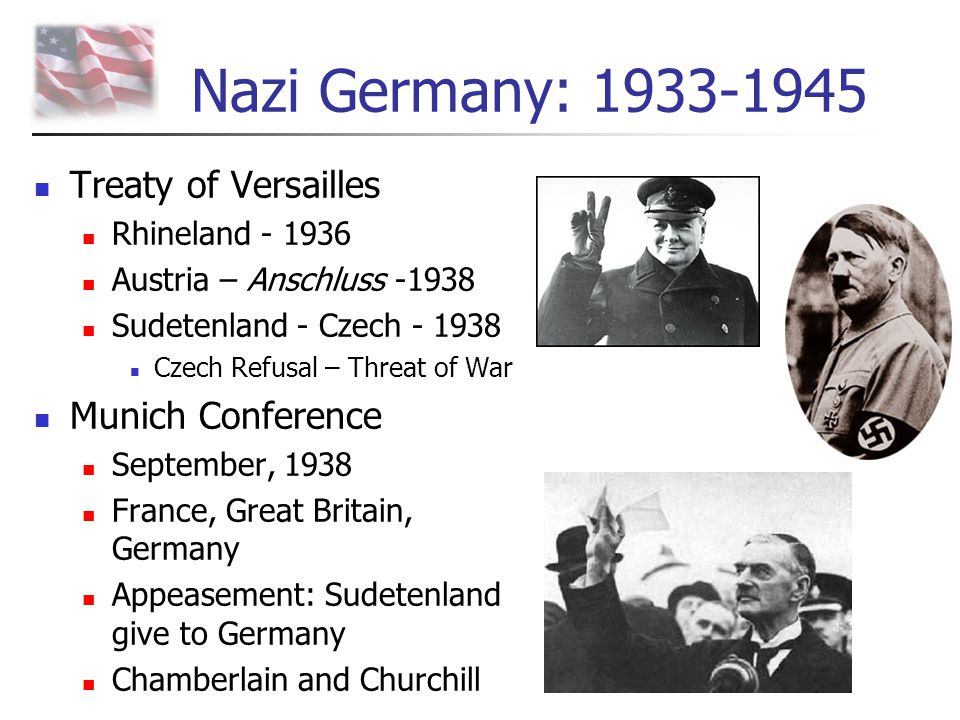 Nazi Germany: 1933-1945 Treaty of Versailles Munich Conference