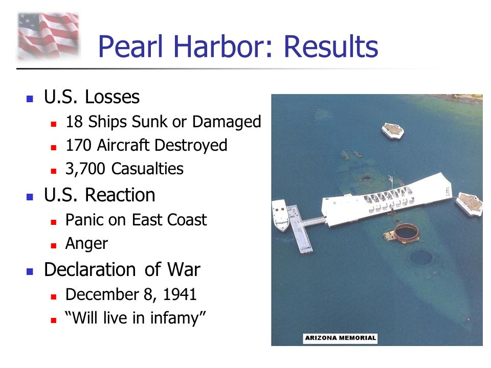 Pearl Harbor: Results U.S. Losses U.S. Reaction Declaration of War