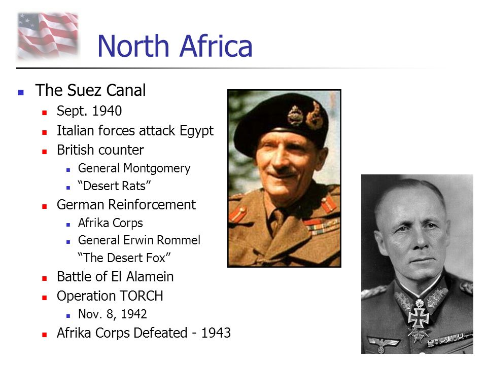 North Africa The Suez Canal Sept. 1940 Italian forces attack Egypt