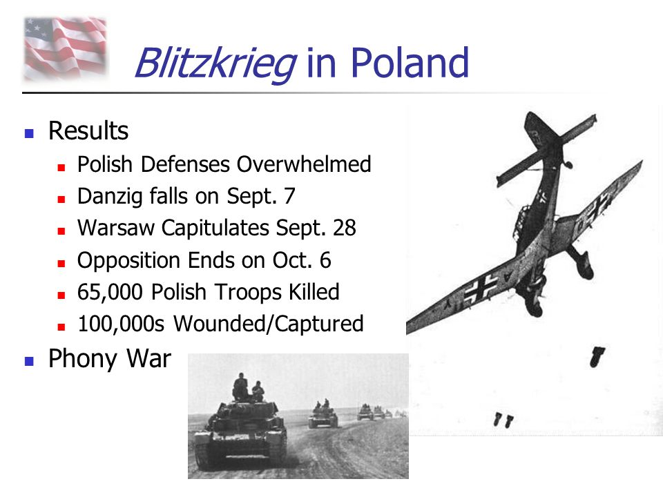 Blitzkrieg in Poland Results Phony War Polish Defenses Overwhelmed