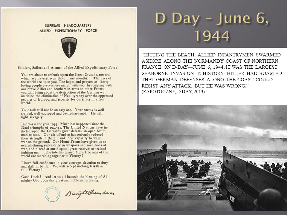 D Day – June 6, 1944