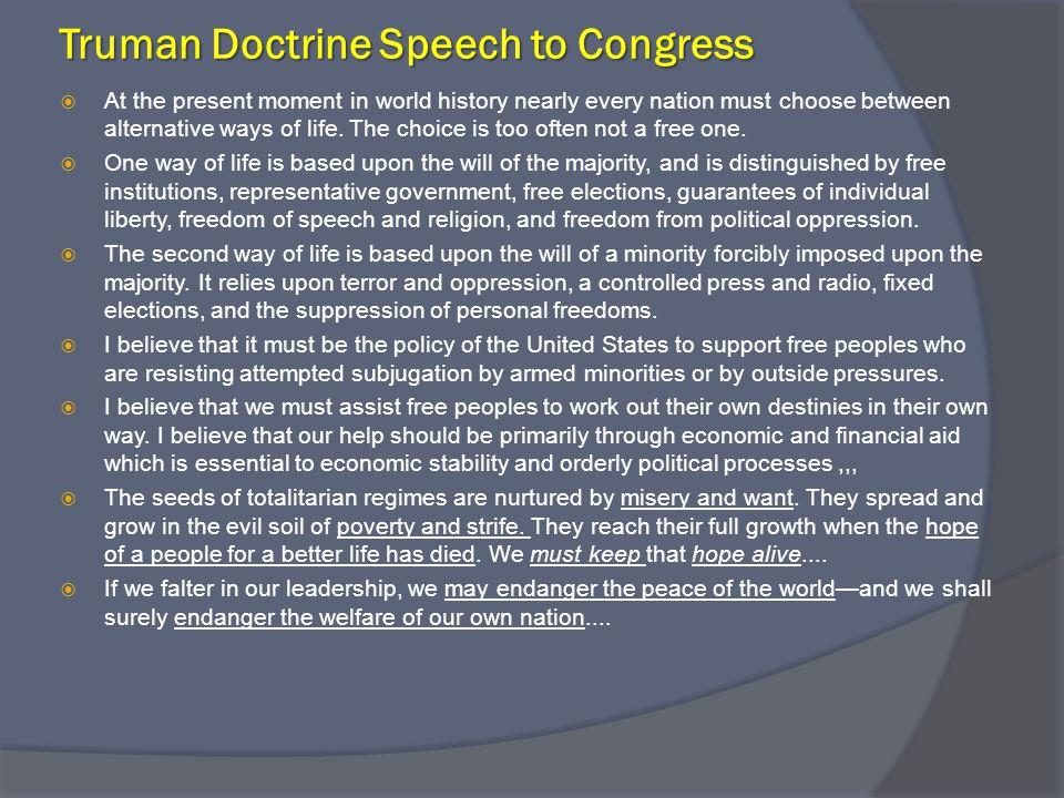 Truman Doctrine Speech to Congress