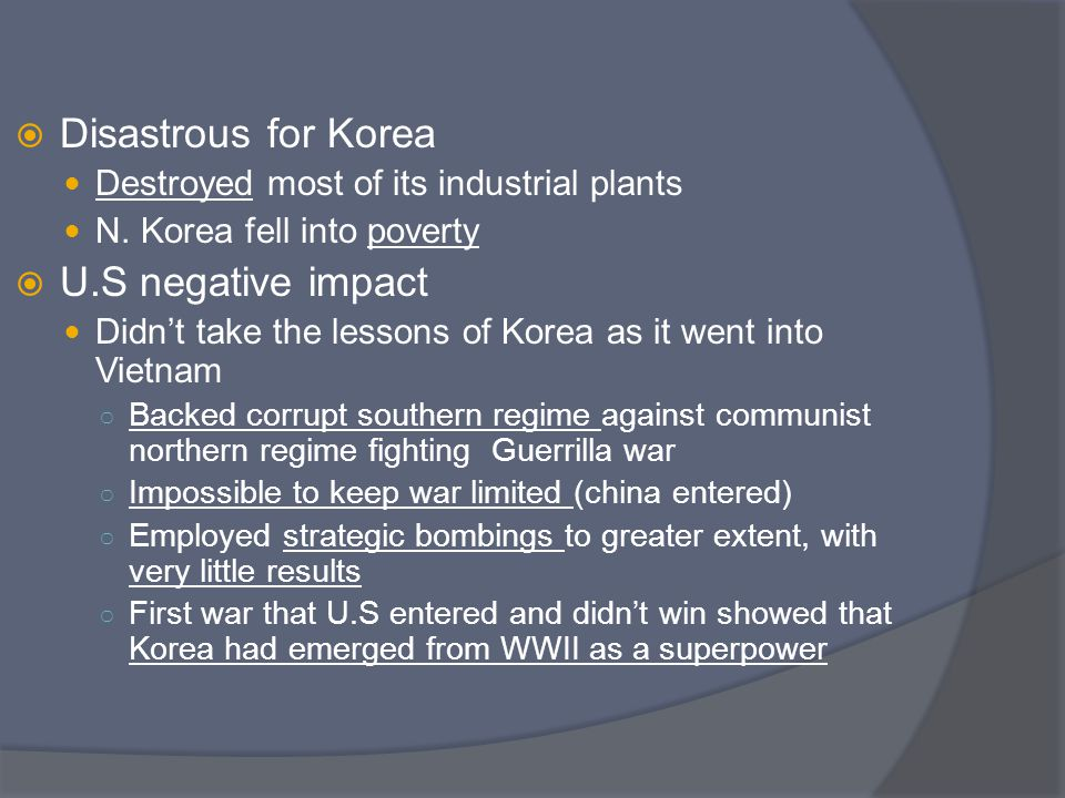 Disastrous for Korea U.S negative impact