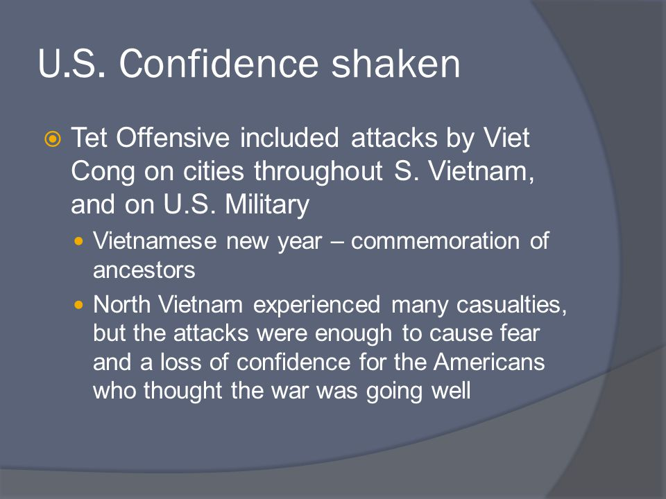 U.S. Confidence shaken Tet Offensive included attacks by Viet Cong on cities throughout S. Vietnam, and on U.S. Military.
