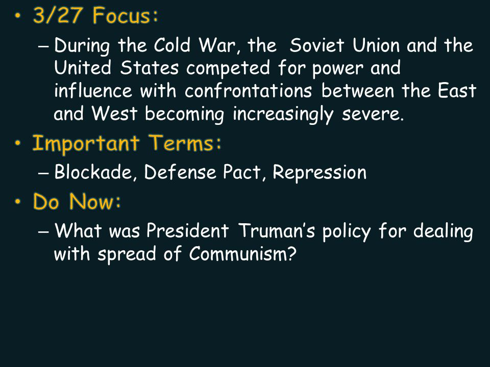 3/27 Focus: Important Terms: Do Now: