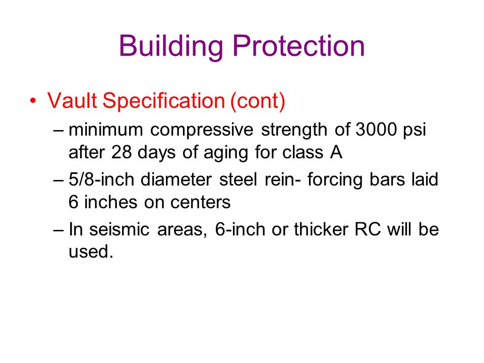 Building Protection Vault Specification (cont)