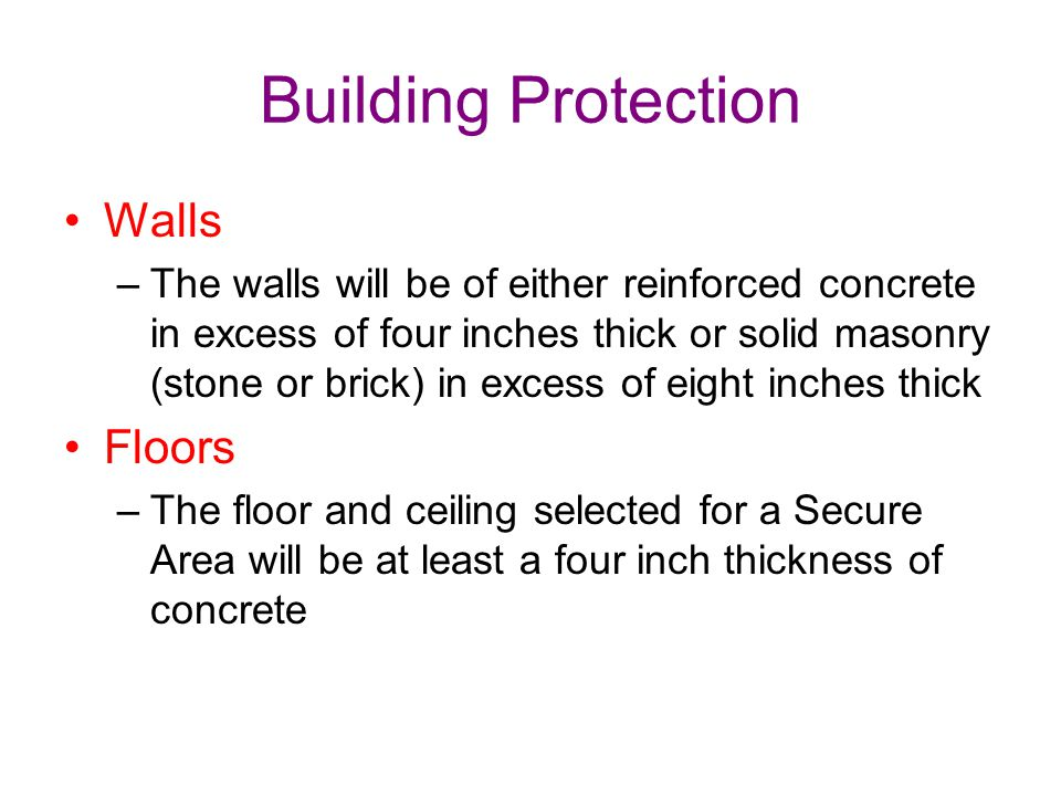 Building Protection Walls Floors