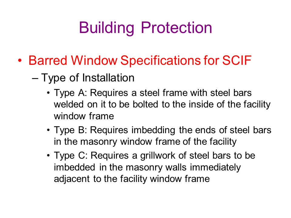 Building Protection Barred Window Specifications for SCIF