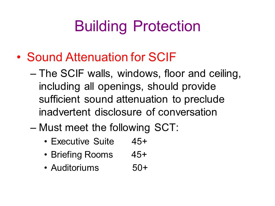 Building Protection Sound Attenuation for SCIF