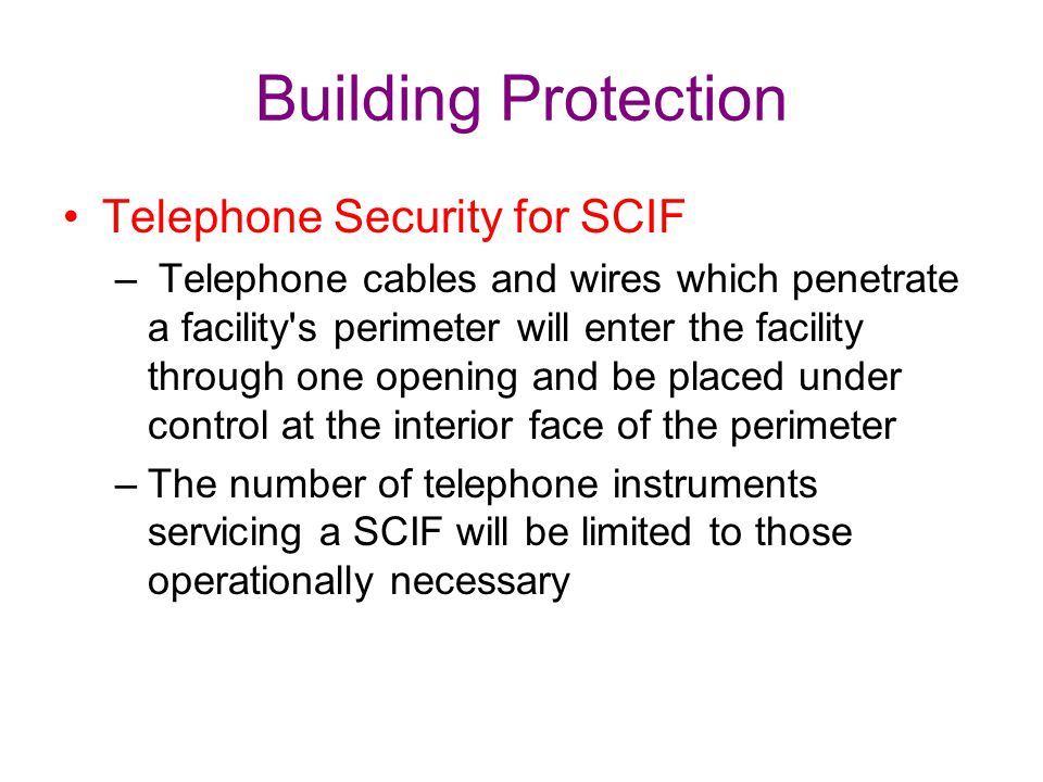 Building Protection Telephone Security for SCIF