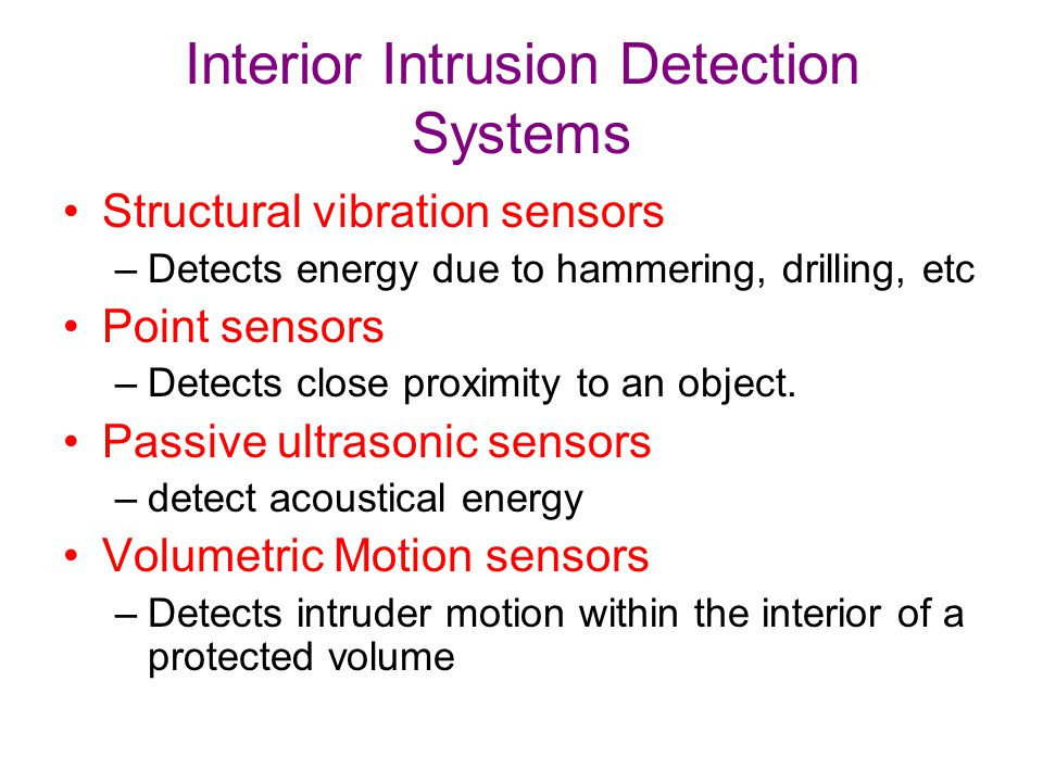 Interior Intrusion Detection Systems