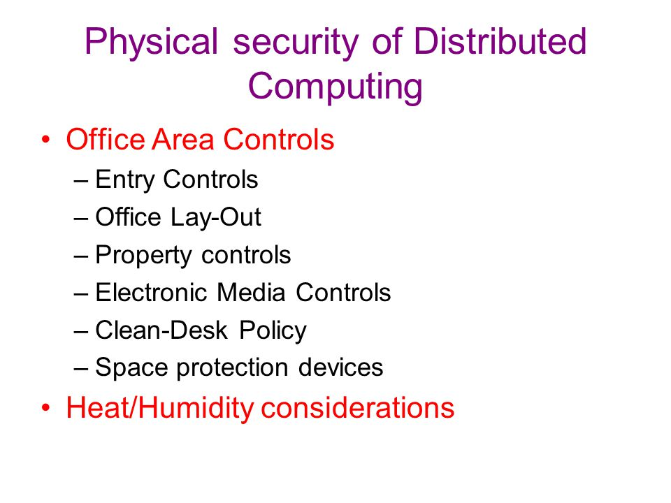 Physical security of Distributed Computing