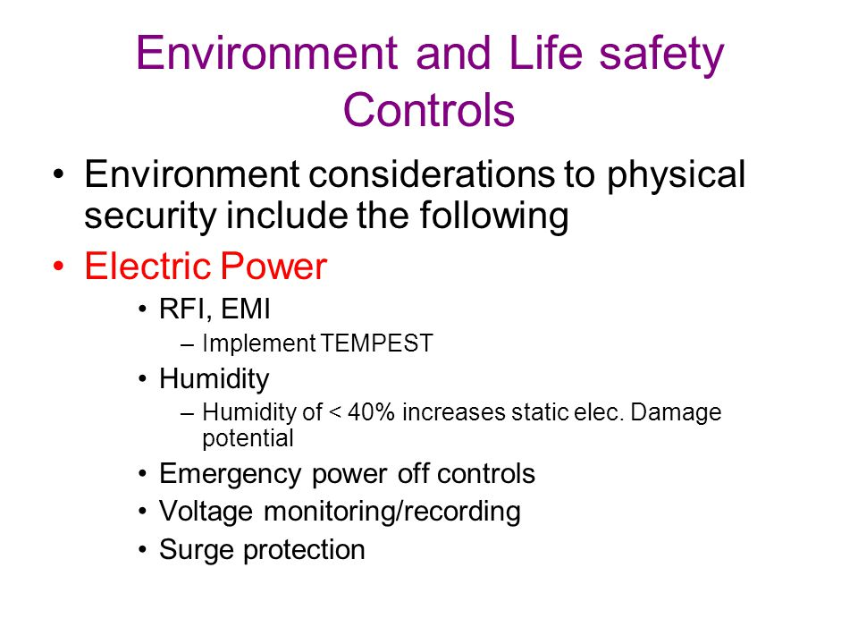 Environment and Life safety Controls