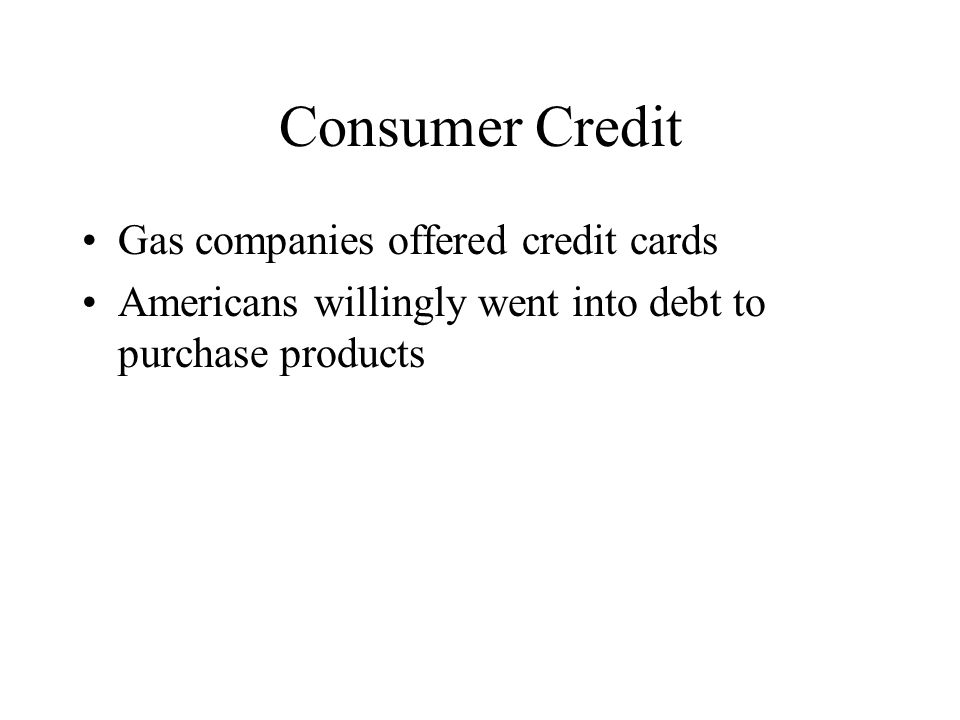 Consumer Credit Gas companies offered credit cards