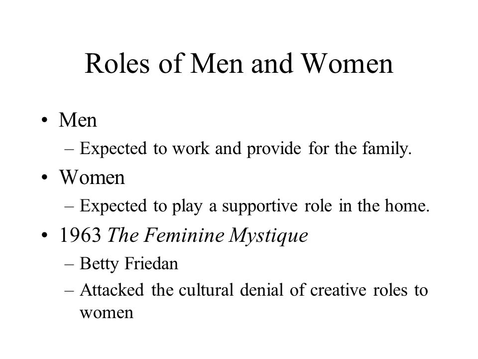 Roles of Men and Women Men Women 1963 The Feminine Mystique