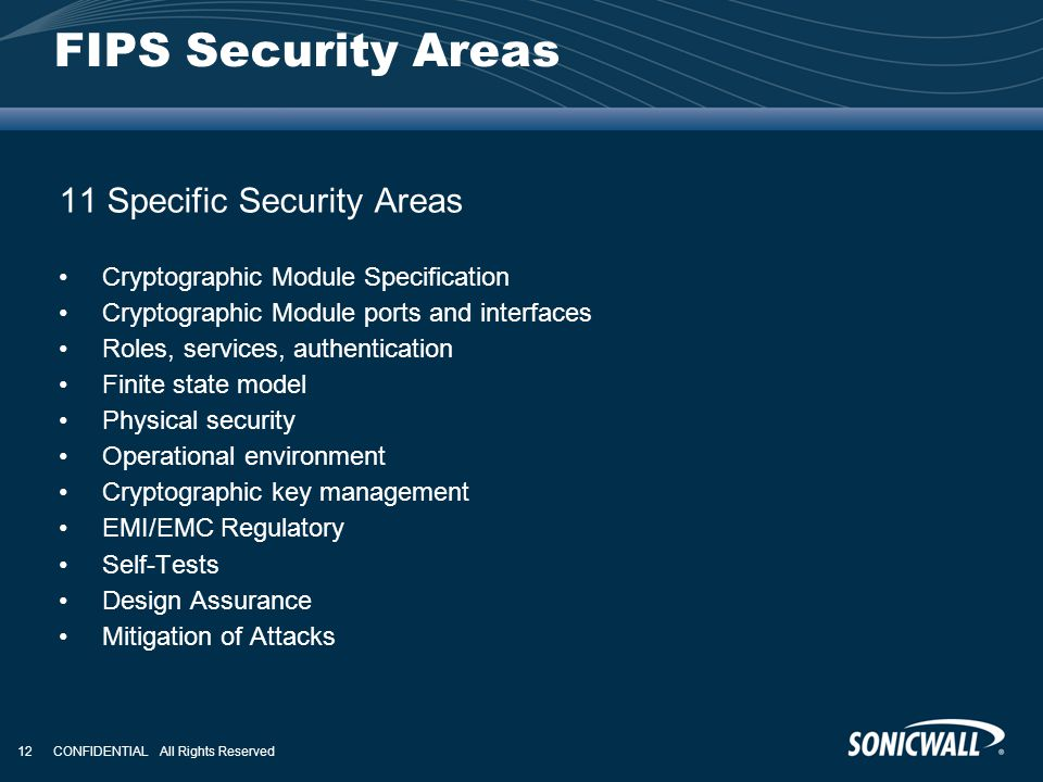 FIPS Security Areas 11 Specific Security Areas