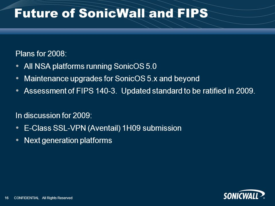 Future of SonicWall and FIPS