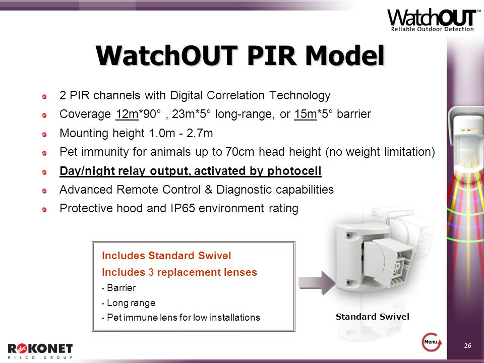 WatchOUT PIR Model 2 PIR channels with Digital Correlation Technology