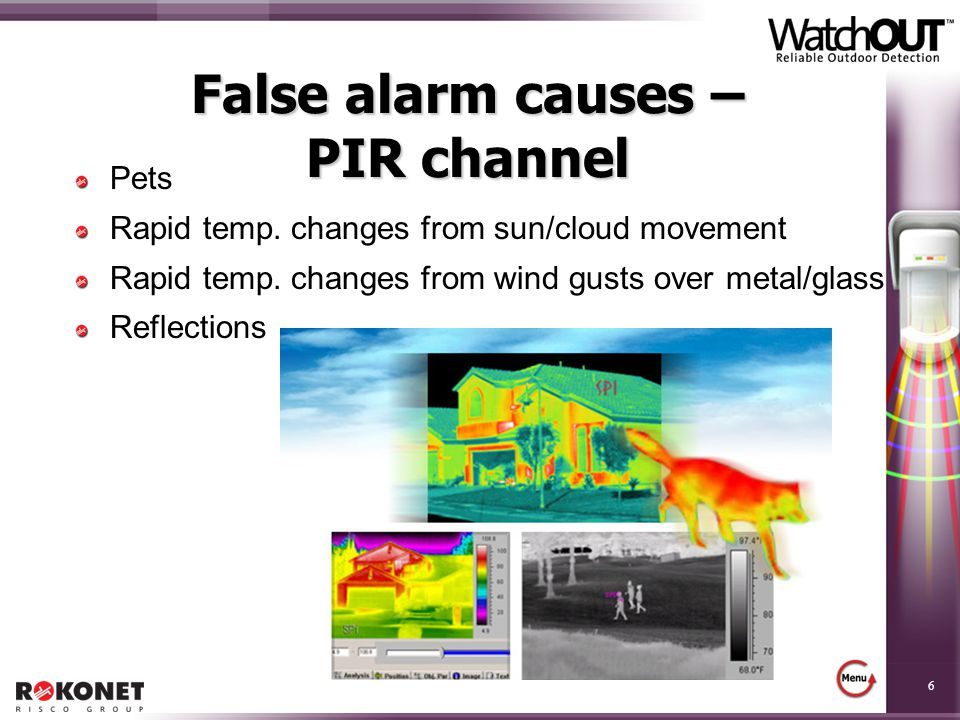 False alarm causes – PIR channel