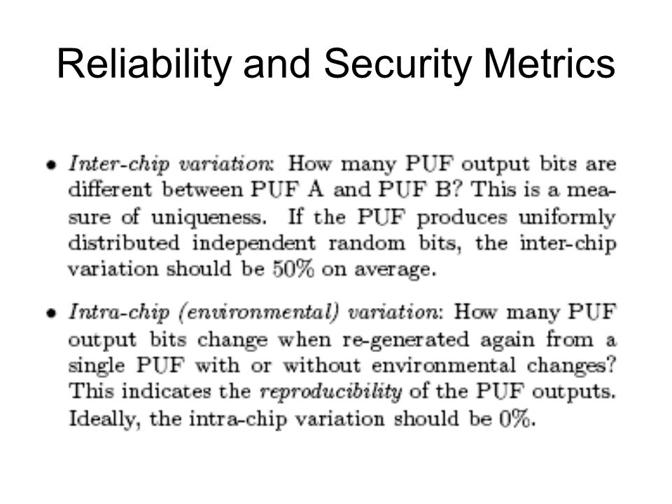 Reliability and Security Metrics