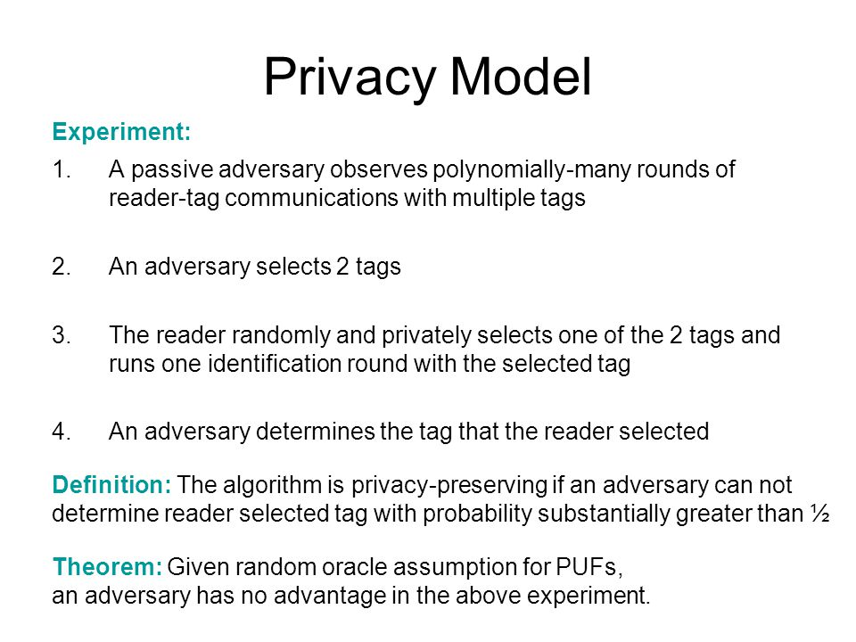 Privacy Model Experiment: