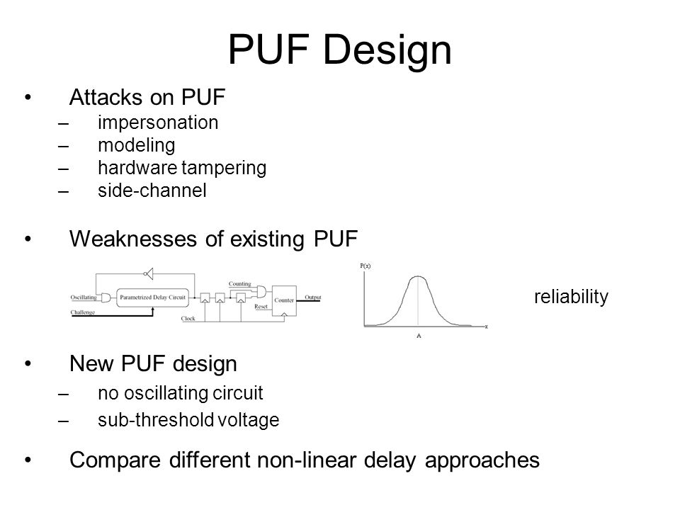 PUF Design Attacks on PUF Weaknesses of existing PUF New PUF design