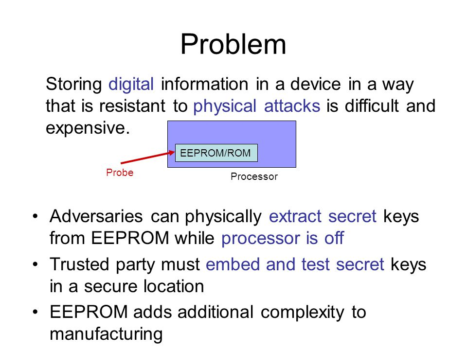 Problem Storing digital information in a device in a way that is resistant to physical attacks is difficult and expensive.