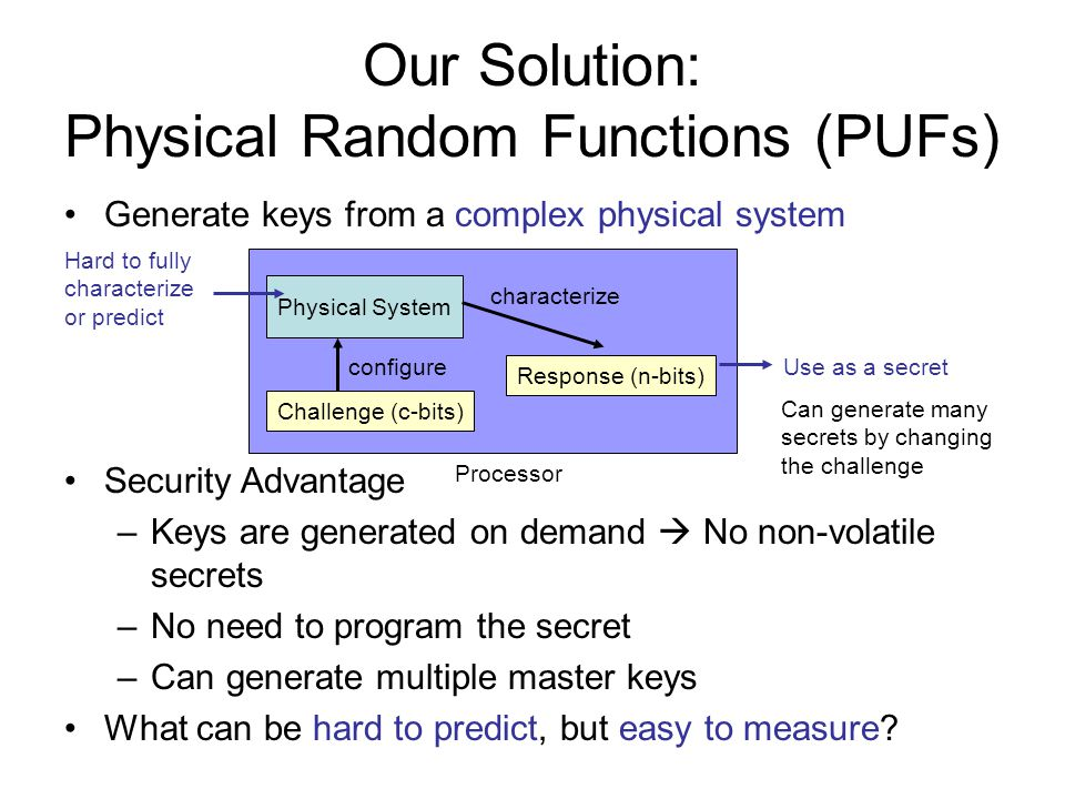 Our Solution: Physical Random Functions (PUFs)