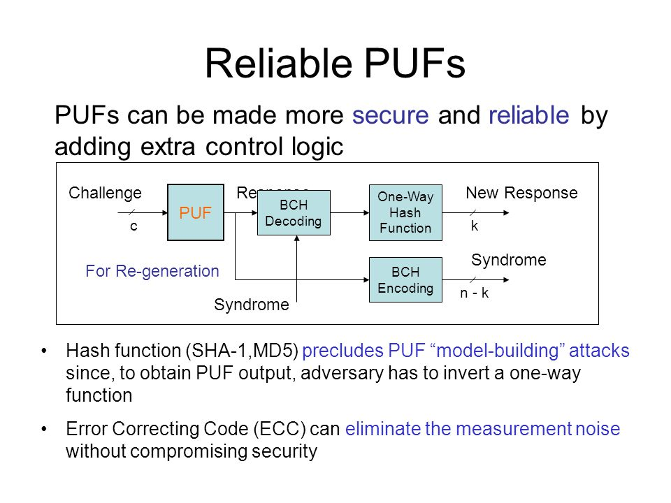 Reliable PUFs PUFs can be made more secure and reliable by adding extra control logic. Challenge. Response.