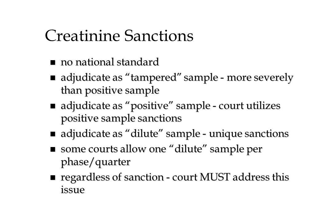 Creatinine Sanctions no national standard