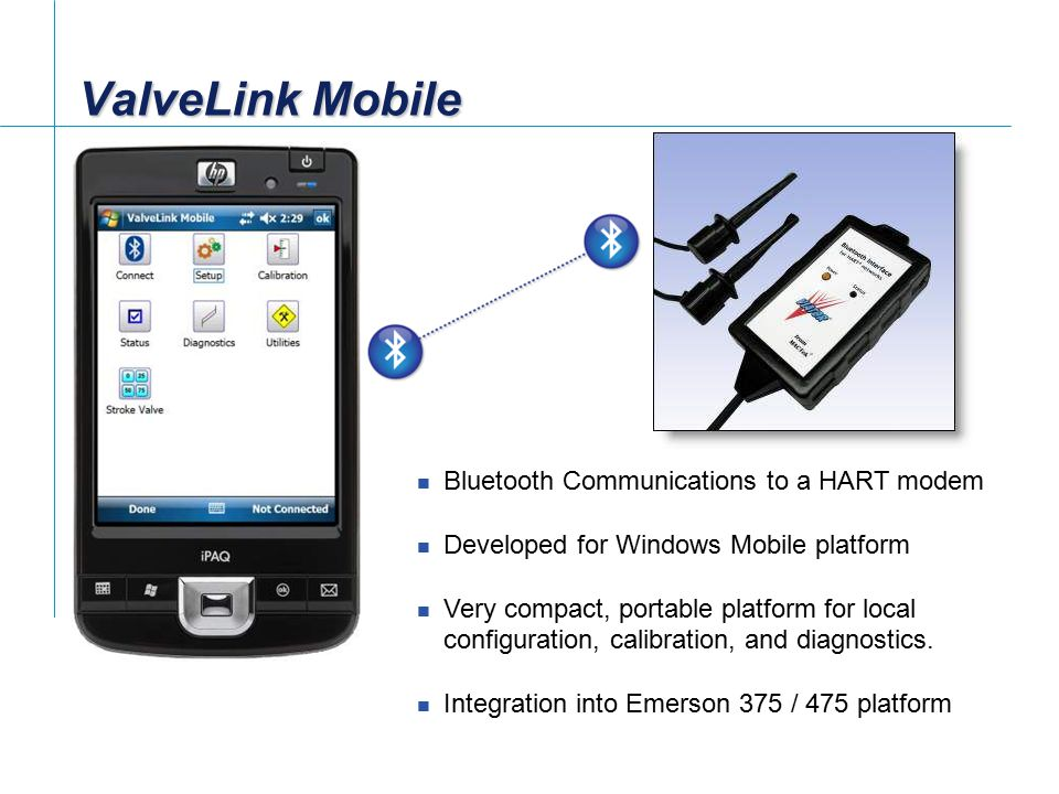 ValveLink Mobile Bluetooth Communications to a HART modem