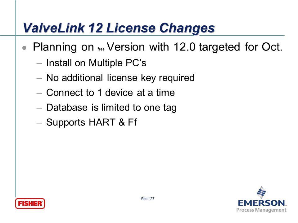 ValveLink 12 License Changes