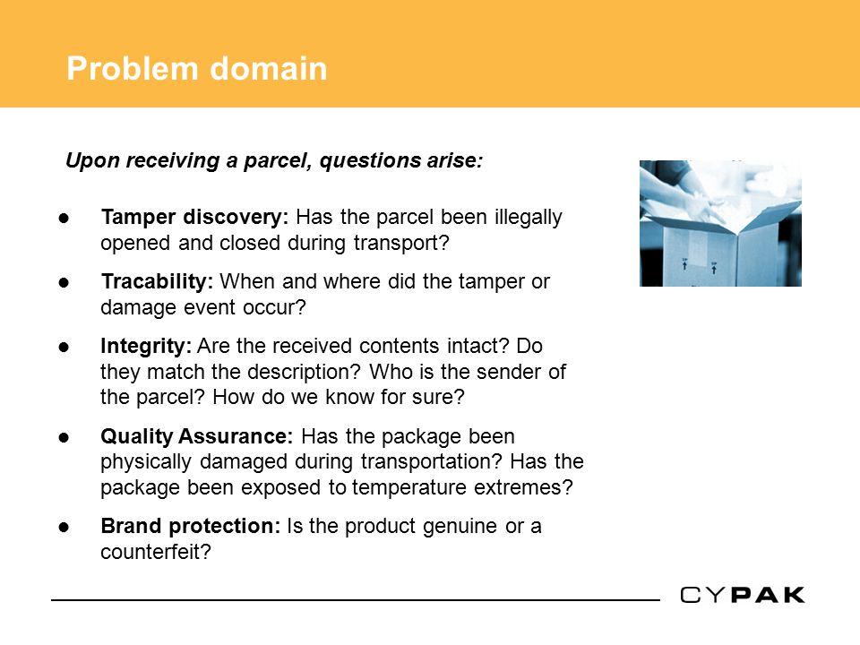 Problem domain Upon receiving a parcel, questions arise: