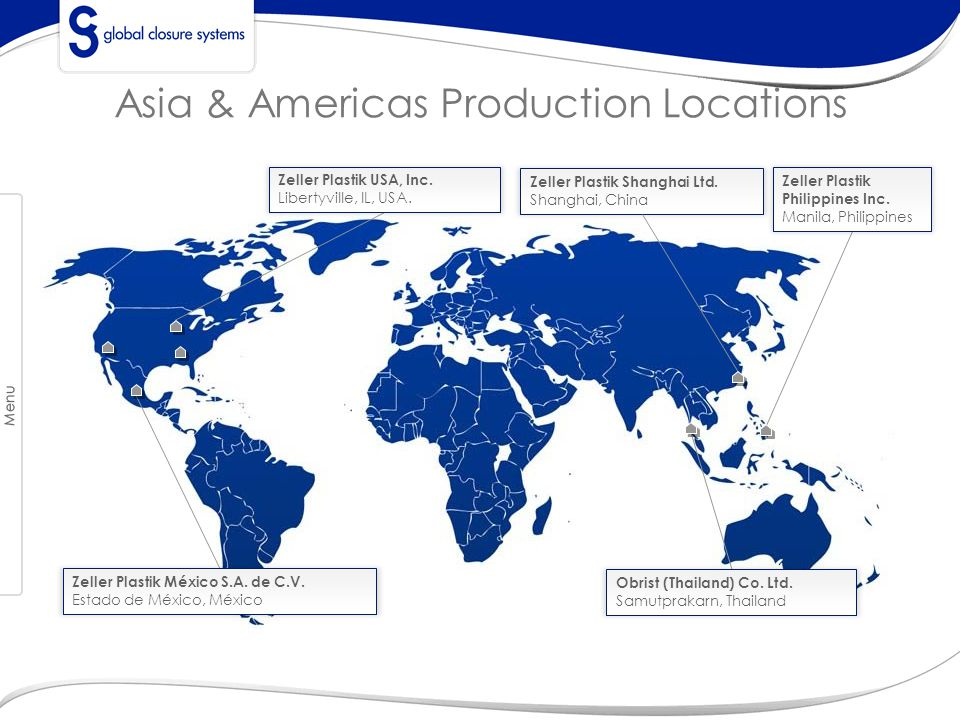 Asia & Americas Production Locations