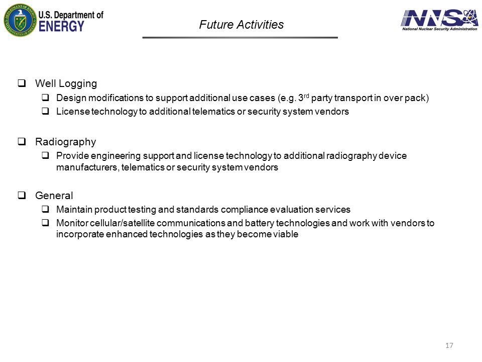 Future Activities Well Logging Radiography General