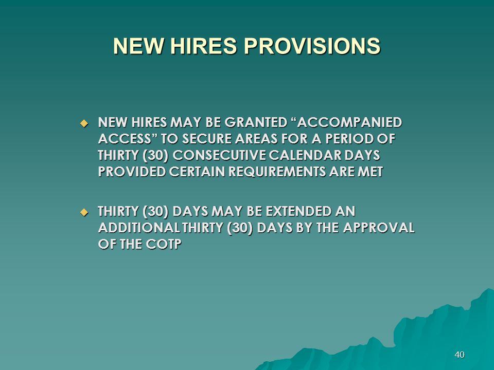 NEW HIRES PROVISIONS